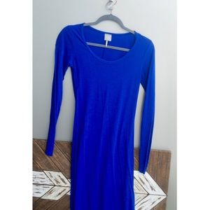 bobi Blue Long Sleeve Maxi Dress